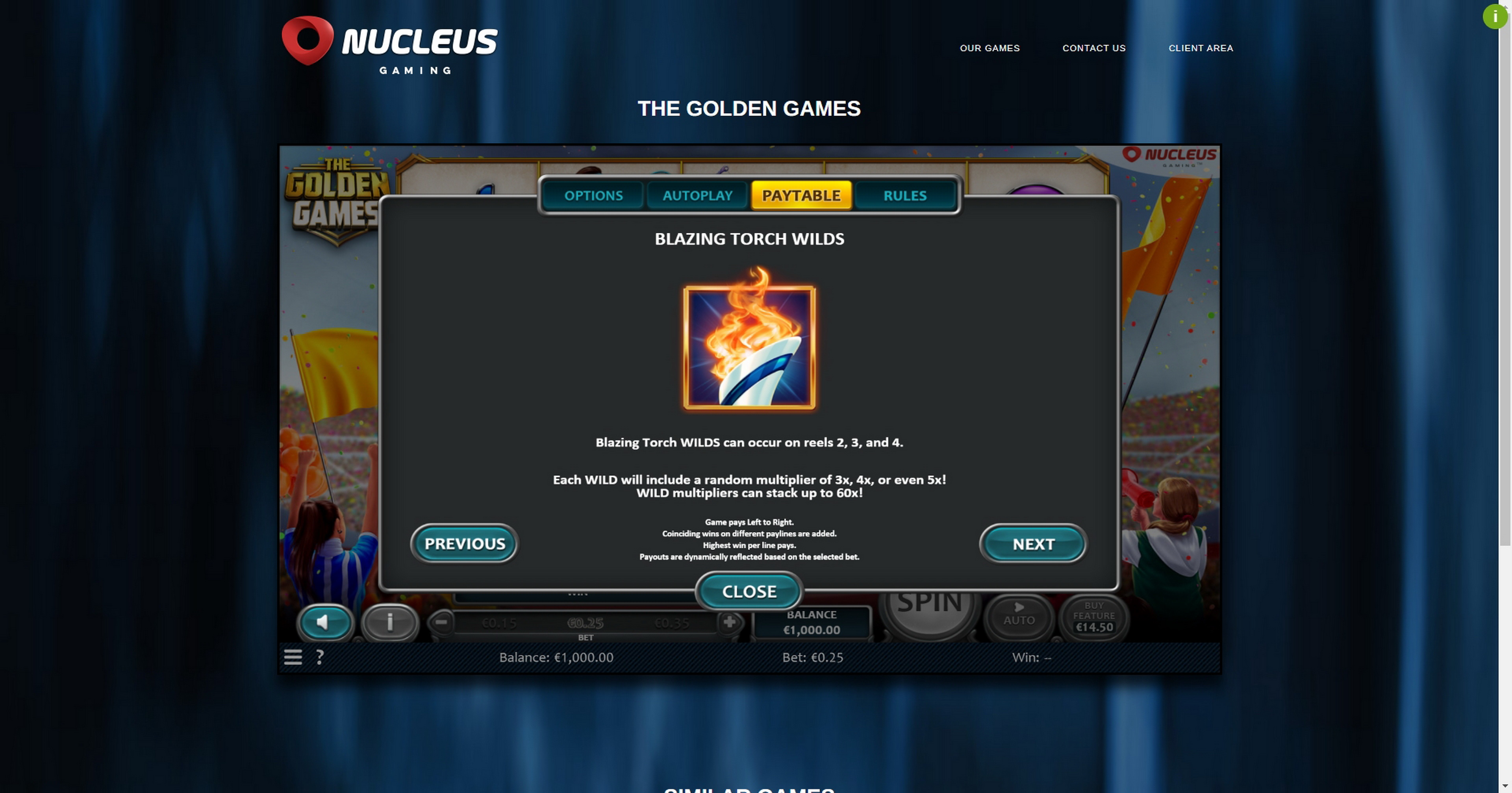 Info of The Golden Games Slot Game by Nucleus Gaming