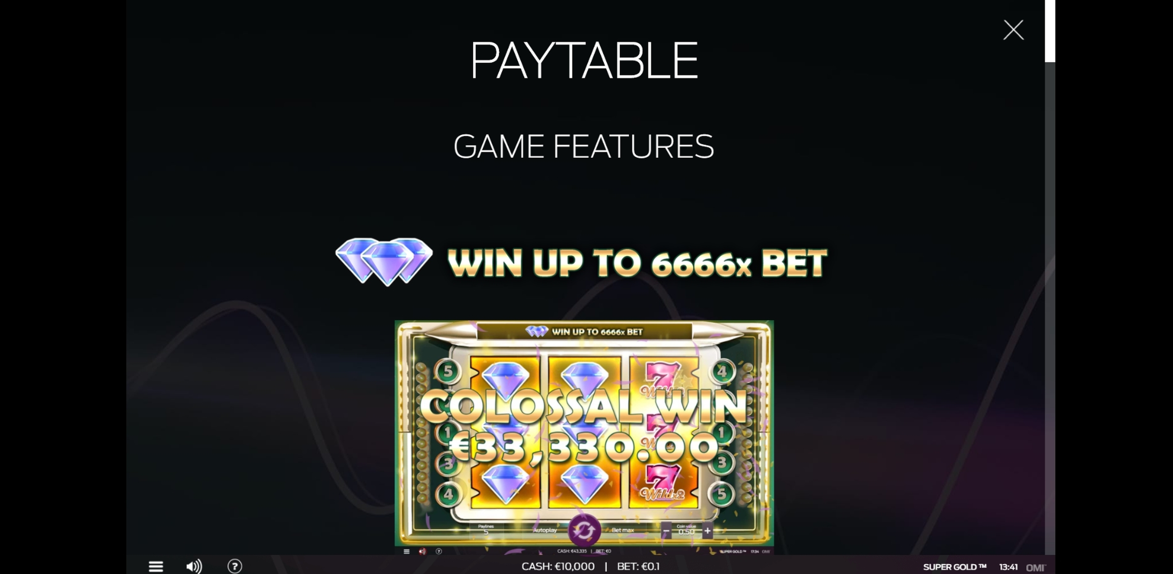Info of Super Gold Slot Game by OMI Gaming