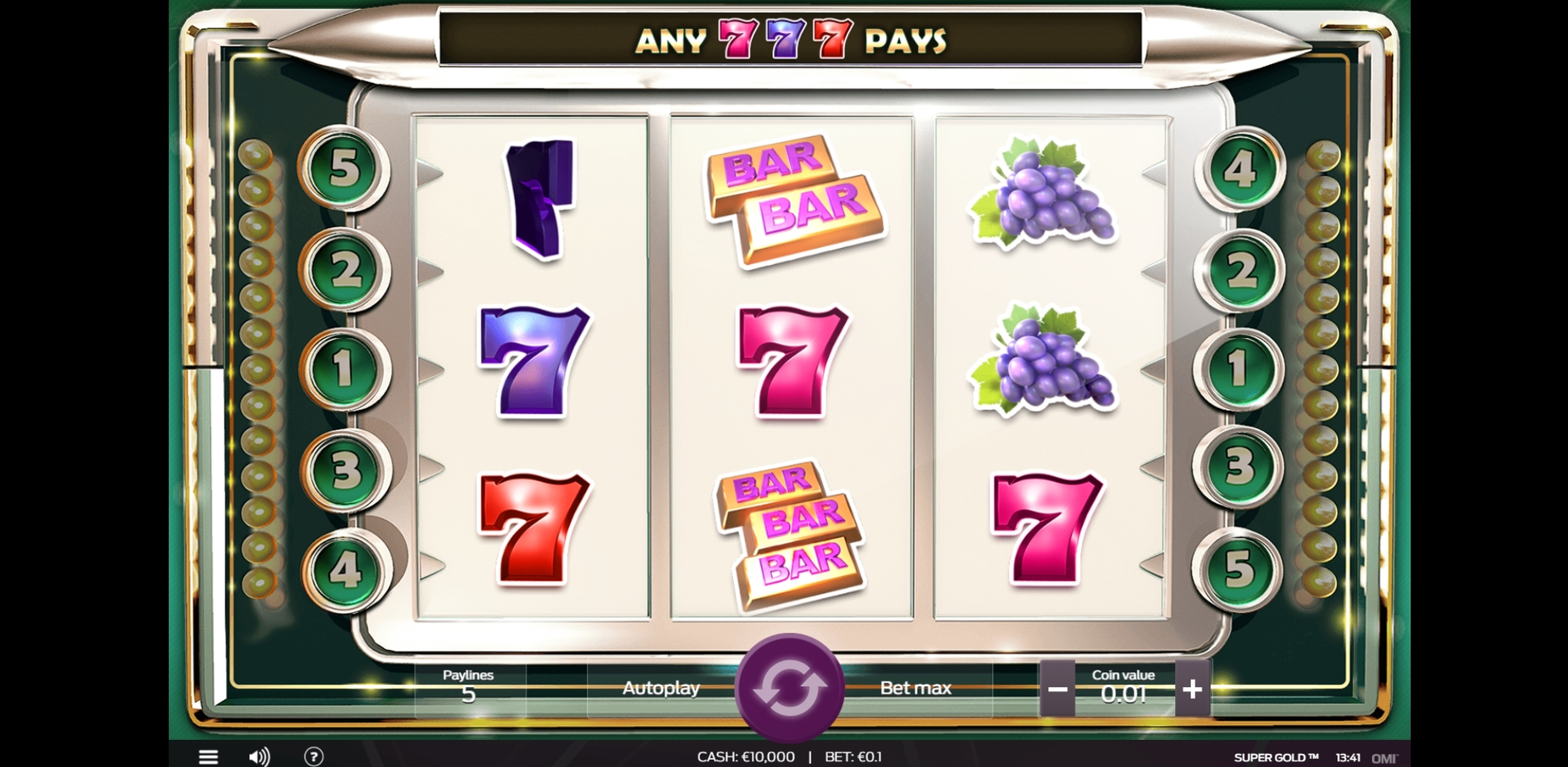 Reels in Super Gold Slot Game by OMI Gaming