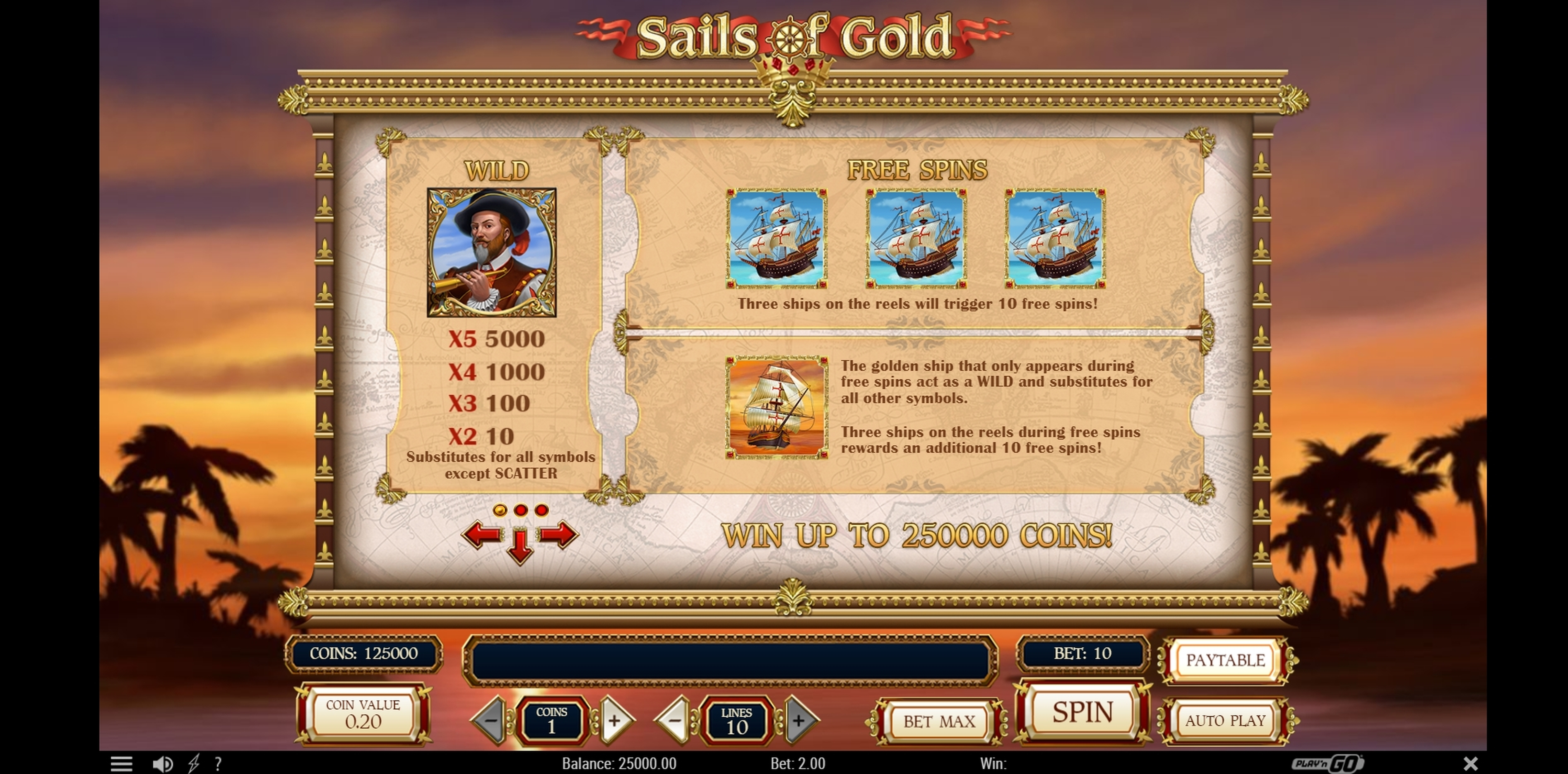 Info of Sails of Gold Slot Game by Playn GO