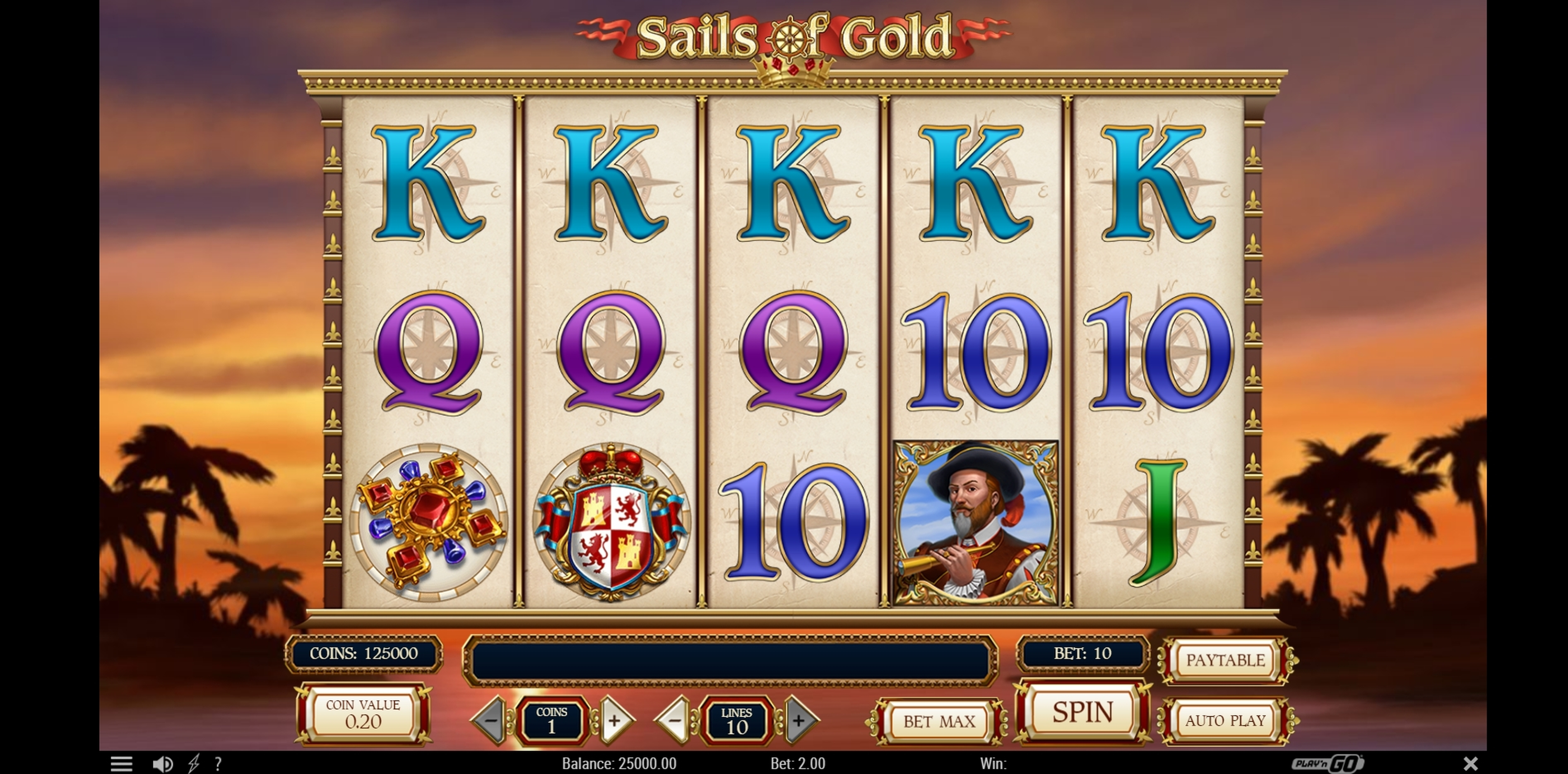 Reels in Sails of Gold Slot Game by Playn GO