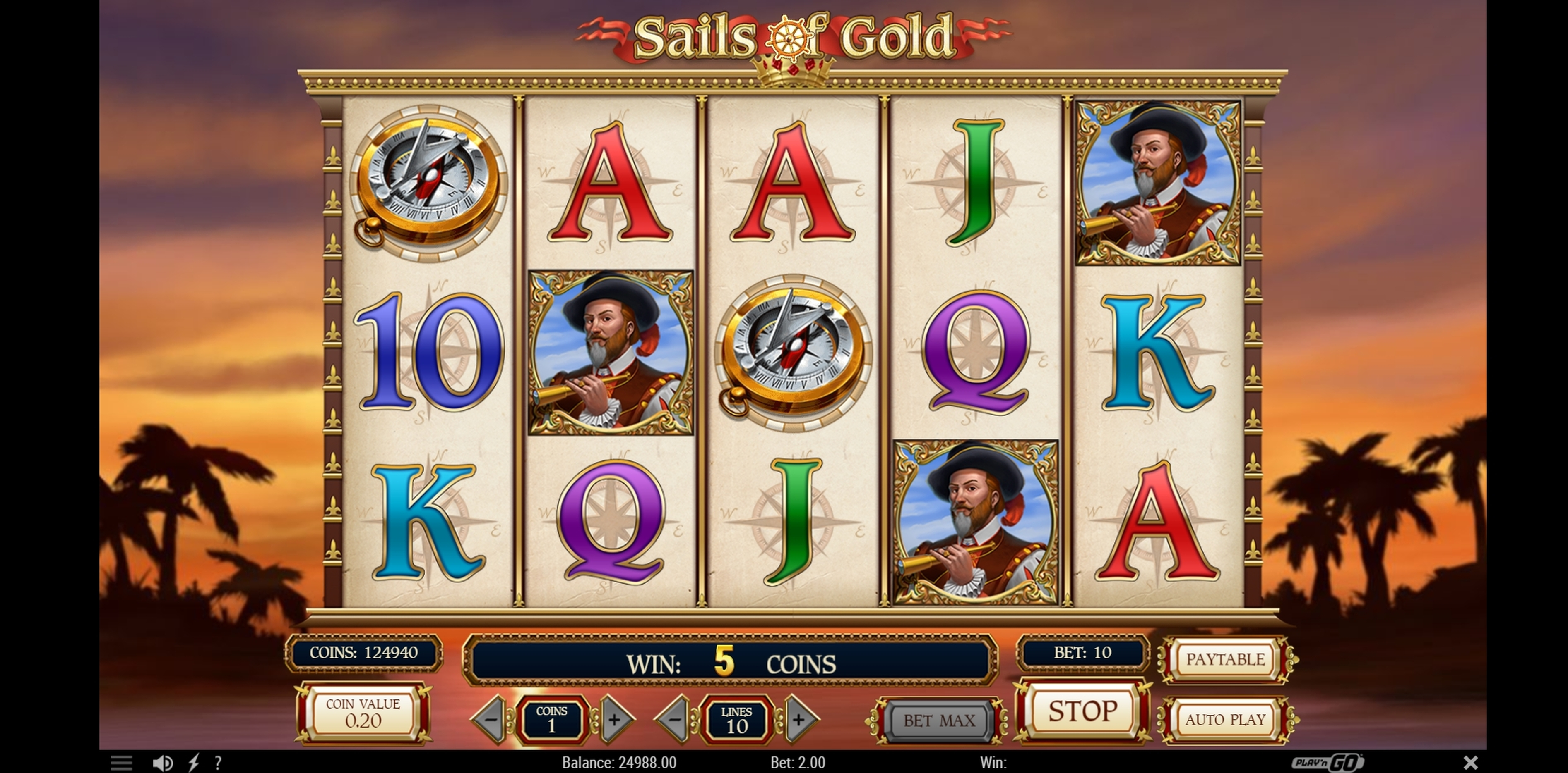 Win Money in Sails of Gold Free Slot Game by Playn GO