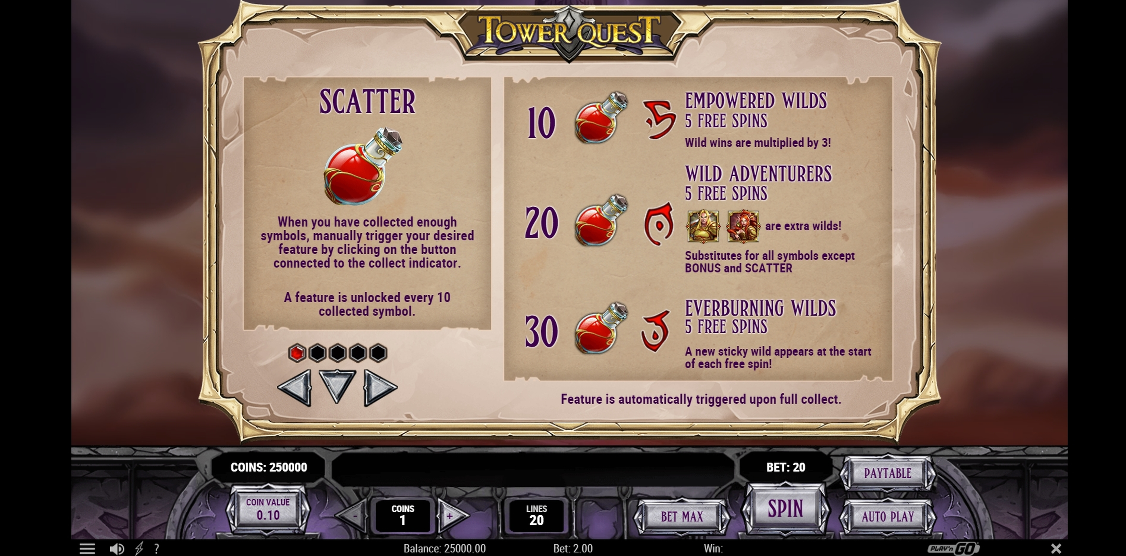 Info of Tower Quest Slot Game by Playn GO