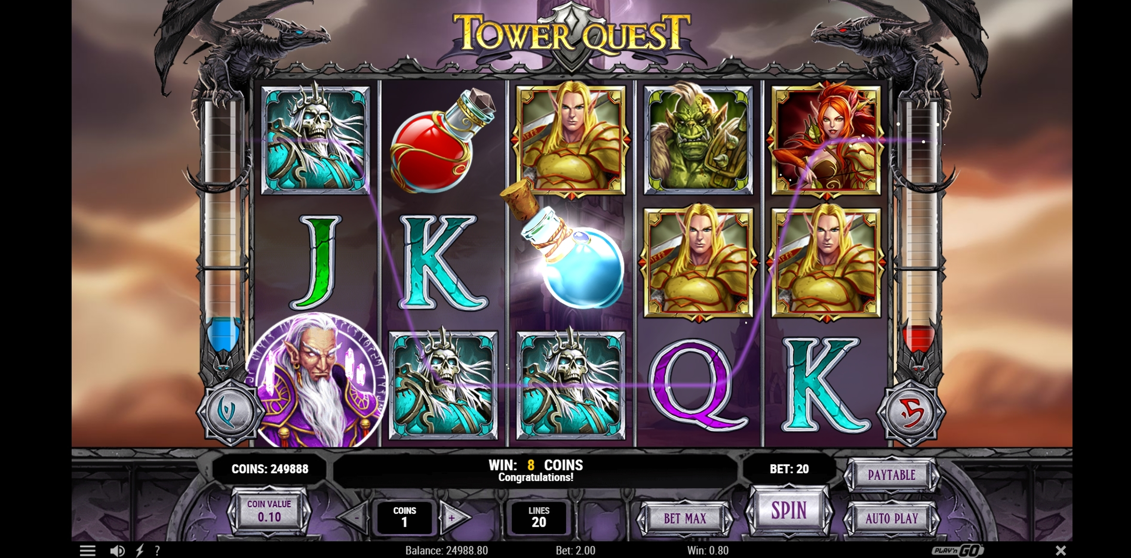 Win Money in Tower Quest Free Slot Game by Playn GO