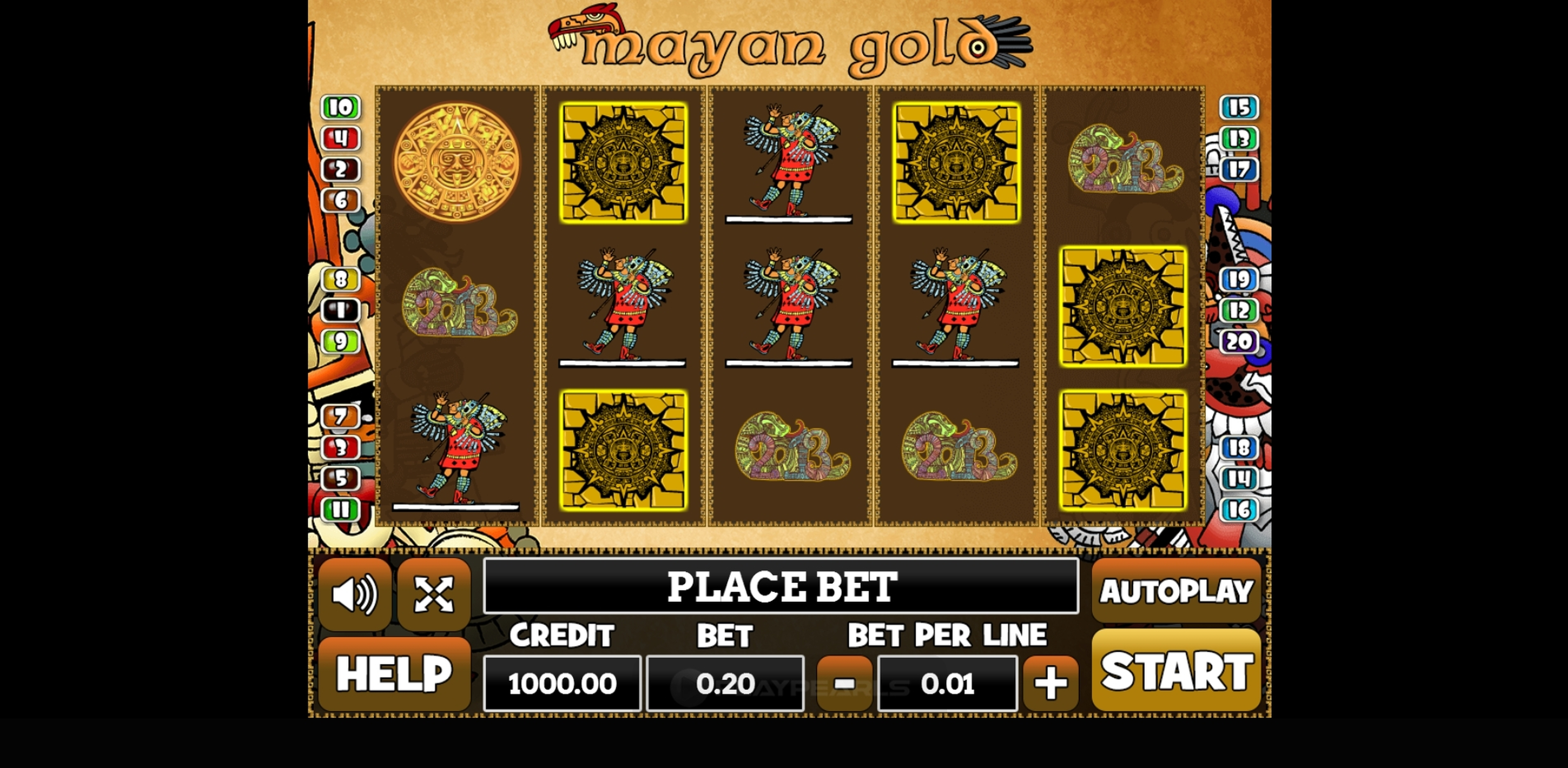 Reels in Mayan Gold (PlayPearls) Slot Game by PlayPearls