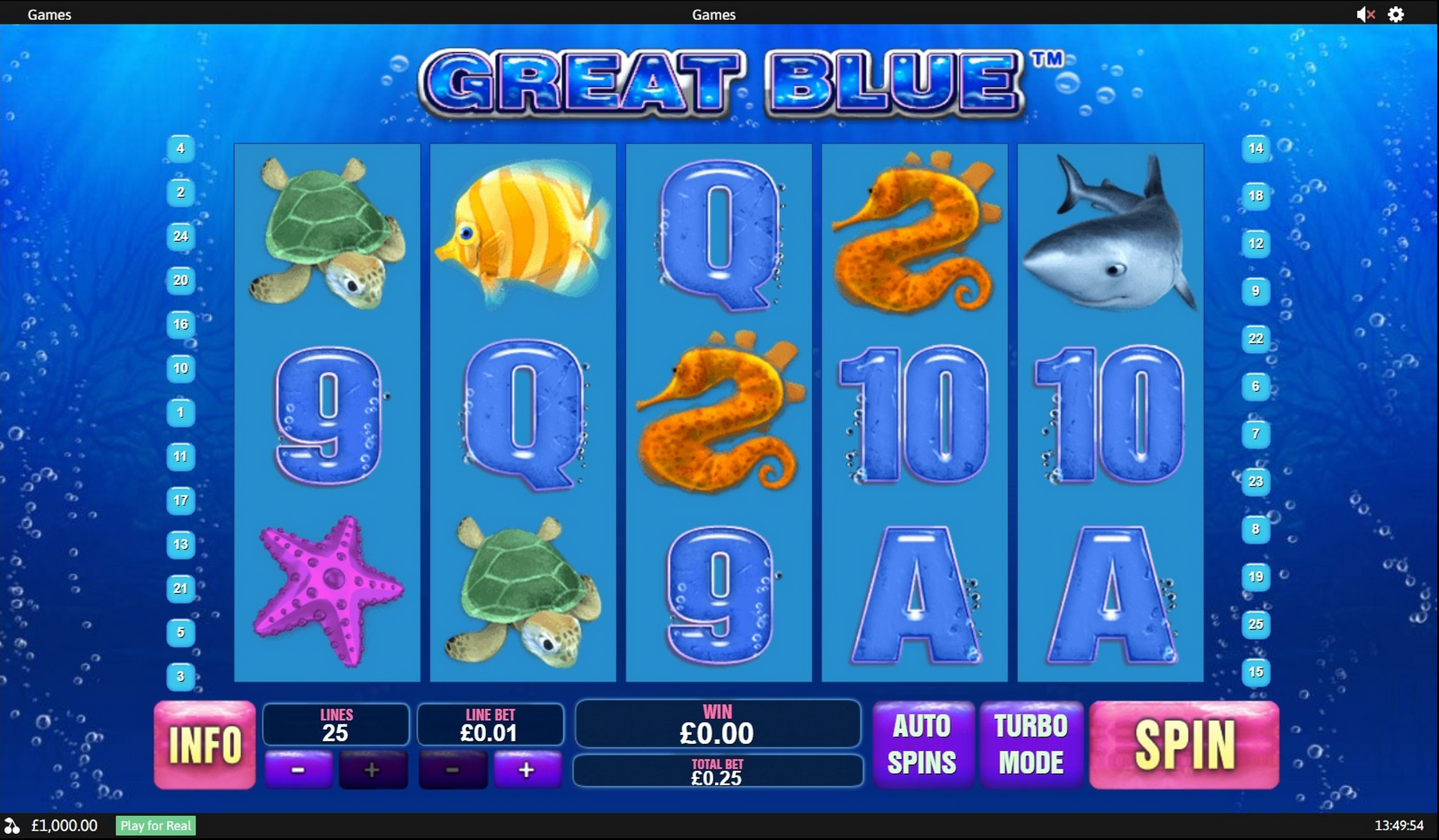 Reels in Great Blue Slot Game by Playtech