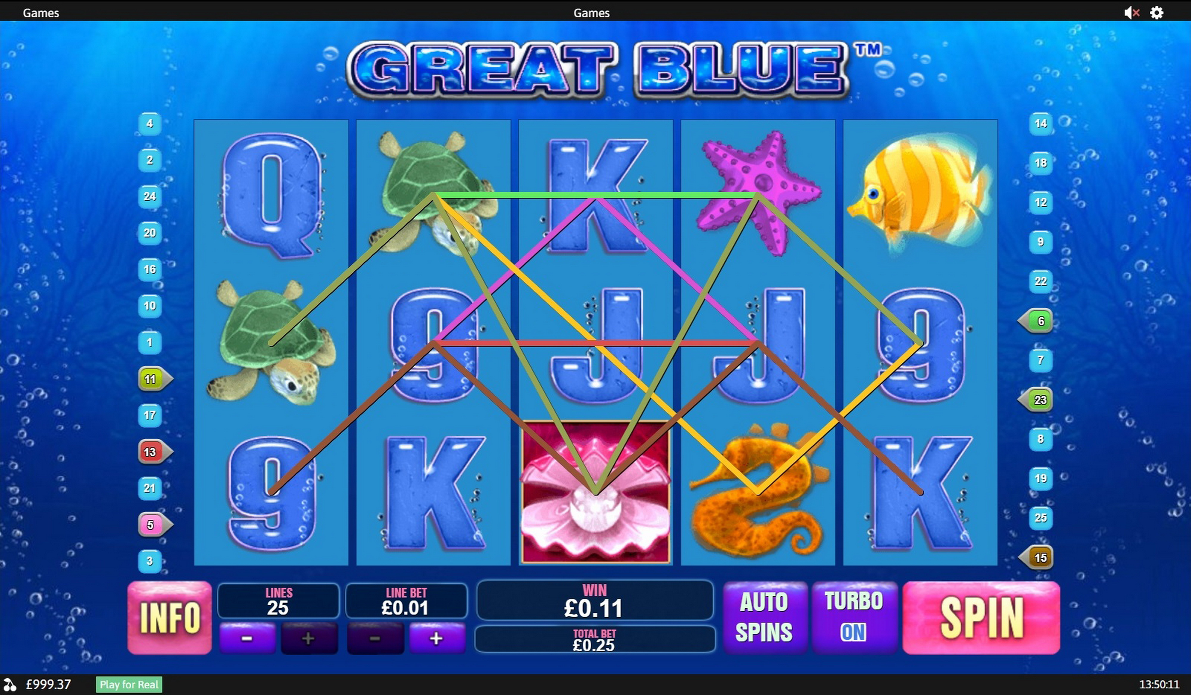 Win Money in Great Blue Free Slot Game by Playtech