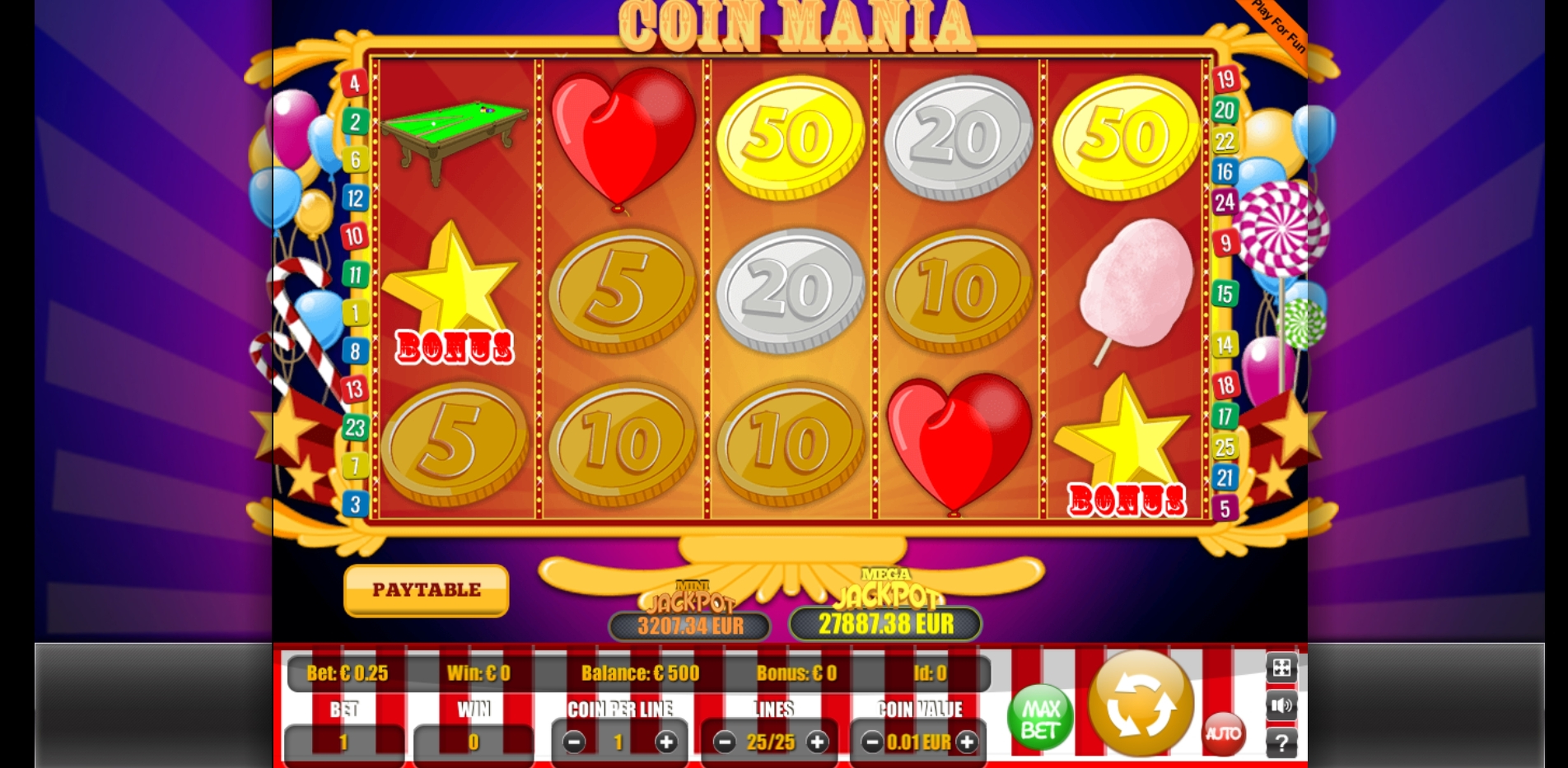 Reels in Coin Mania Slot Game by Portomaso Gaming