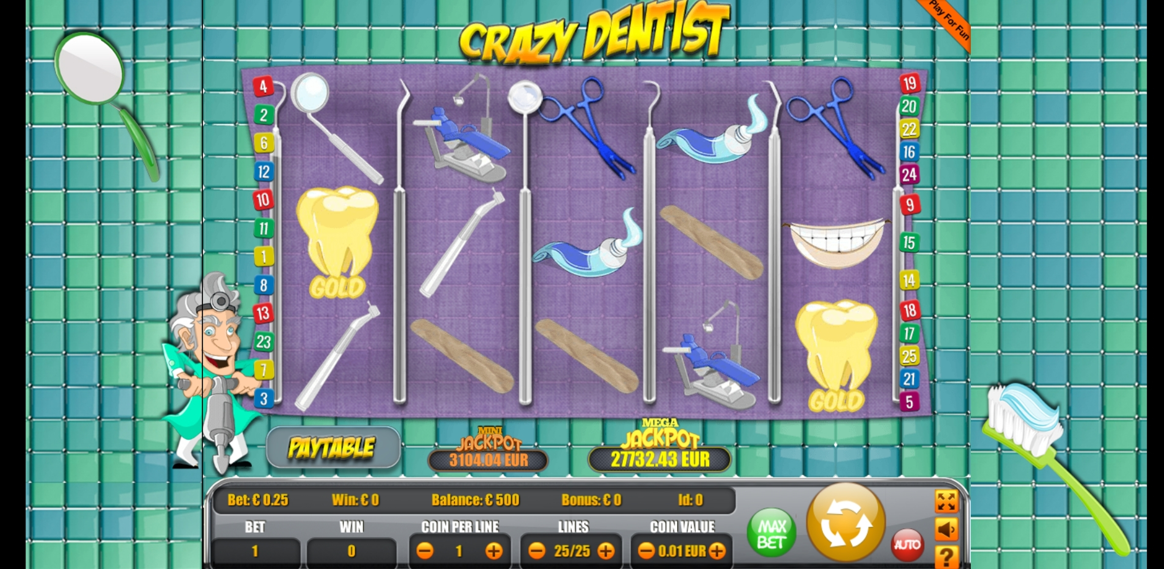 Reels in Crazy Dentist Slot Game by Portomaso Gaming