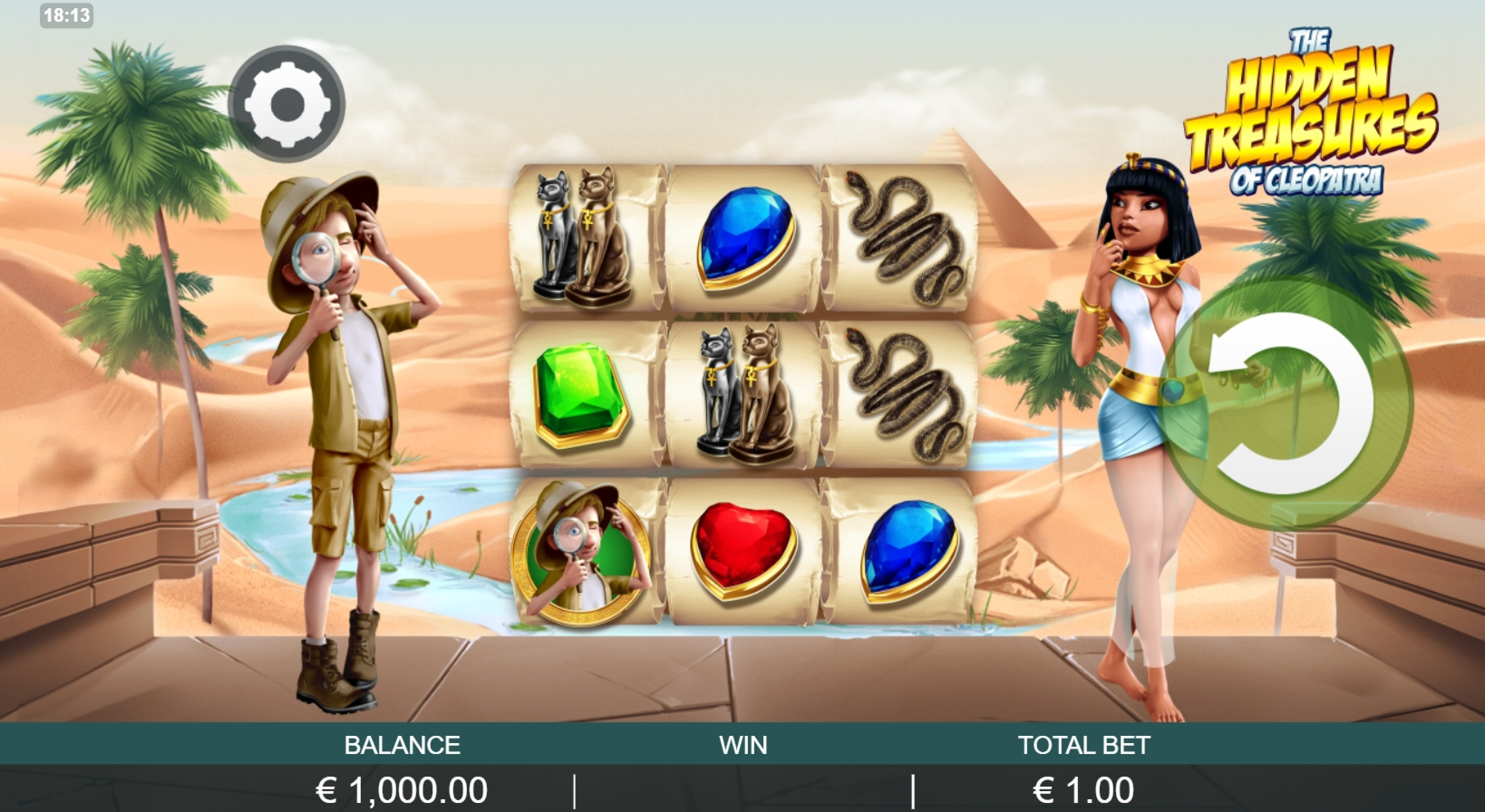Reels in The Hidden Treasure of Cleopatra Slot Game by Probability Jones