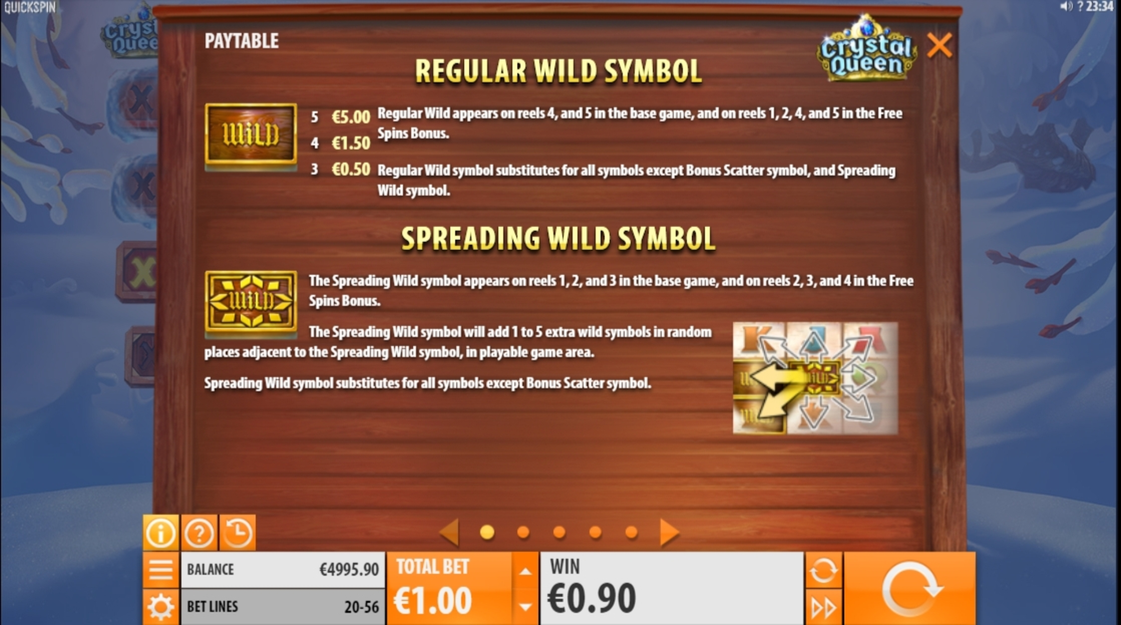 Info of Crystal Queen Slot Game by Quickspin