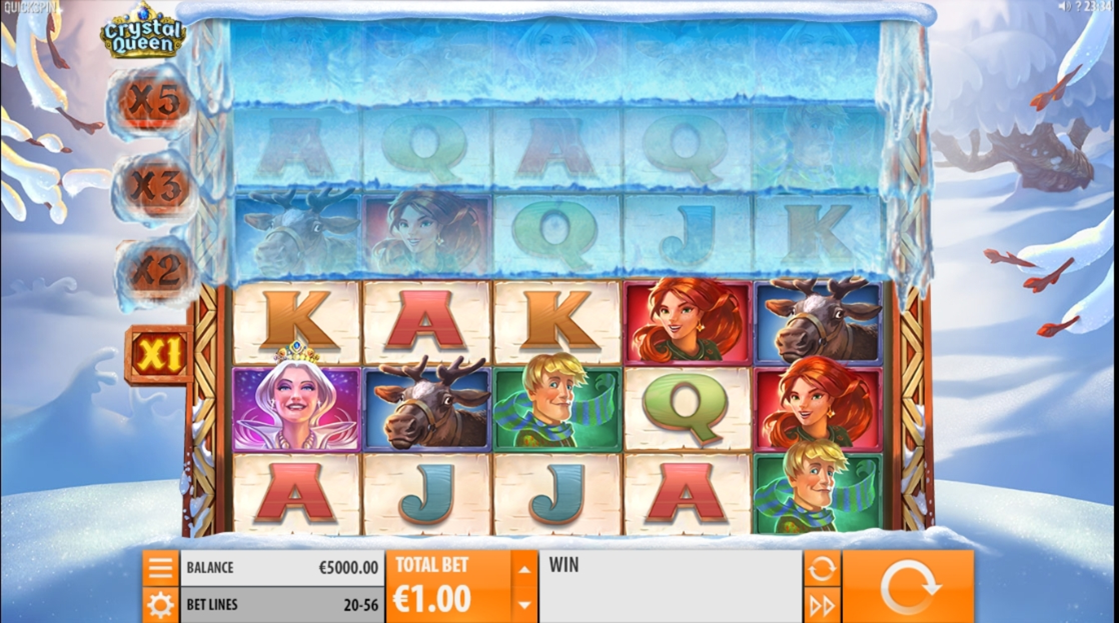 Reels in Crystal Queen Slot Game by Quickspin