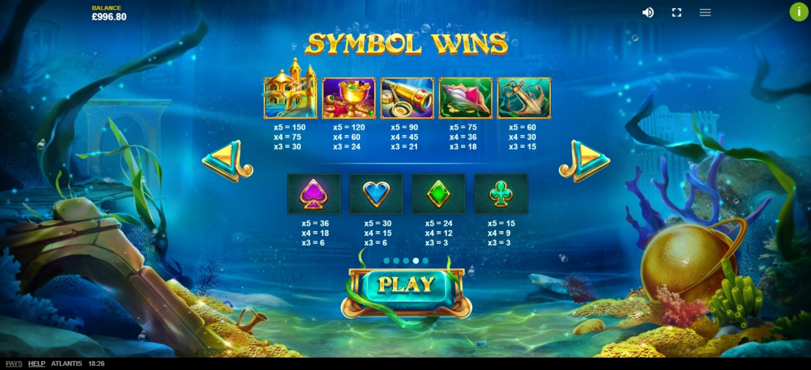 Info of Atlantis (Red Tiger) Slot Game by Red Tiger