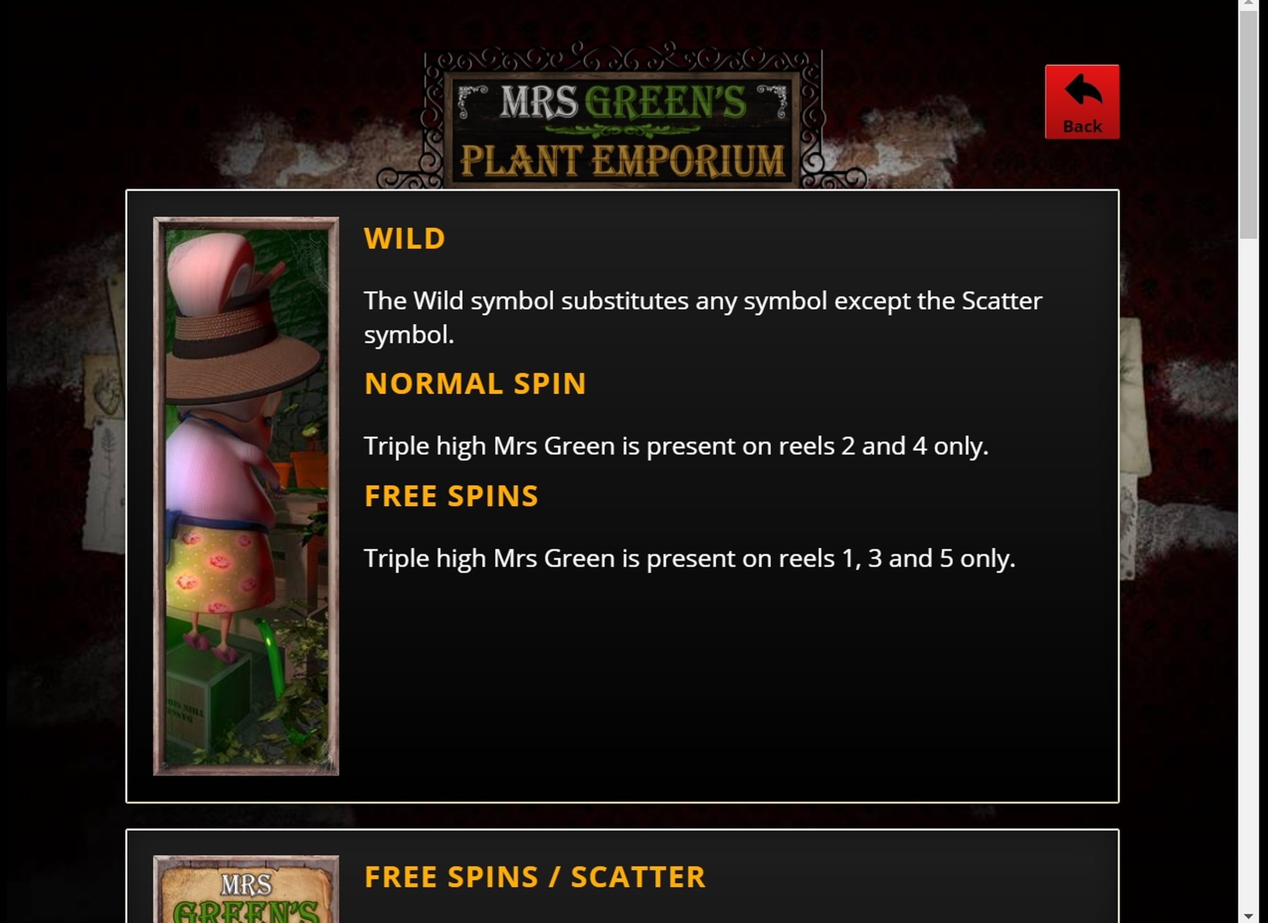 Info of Mrs Green's Plant Emporium Slot Game by saucify