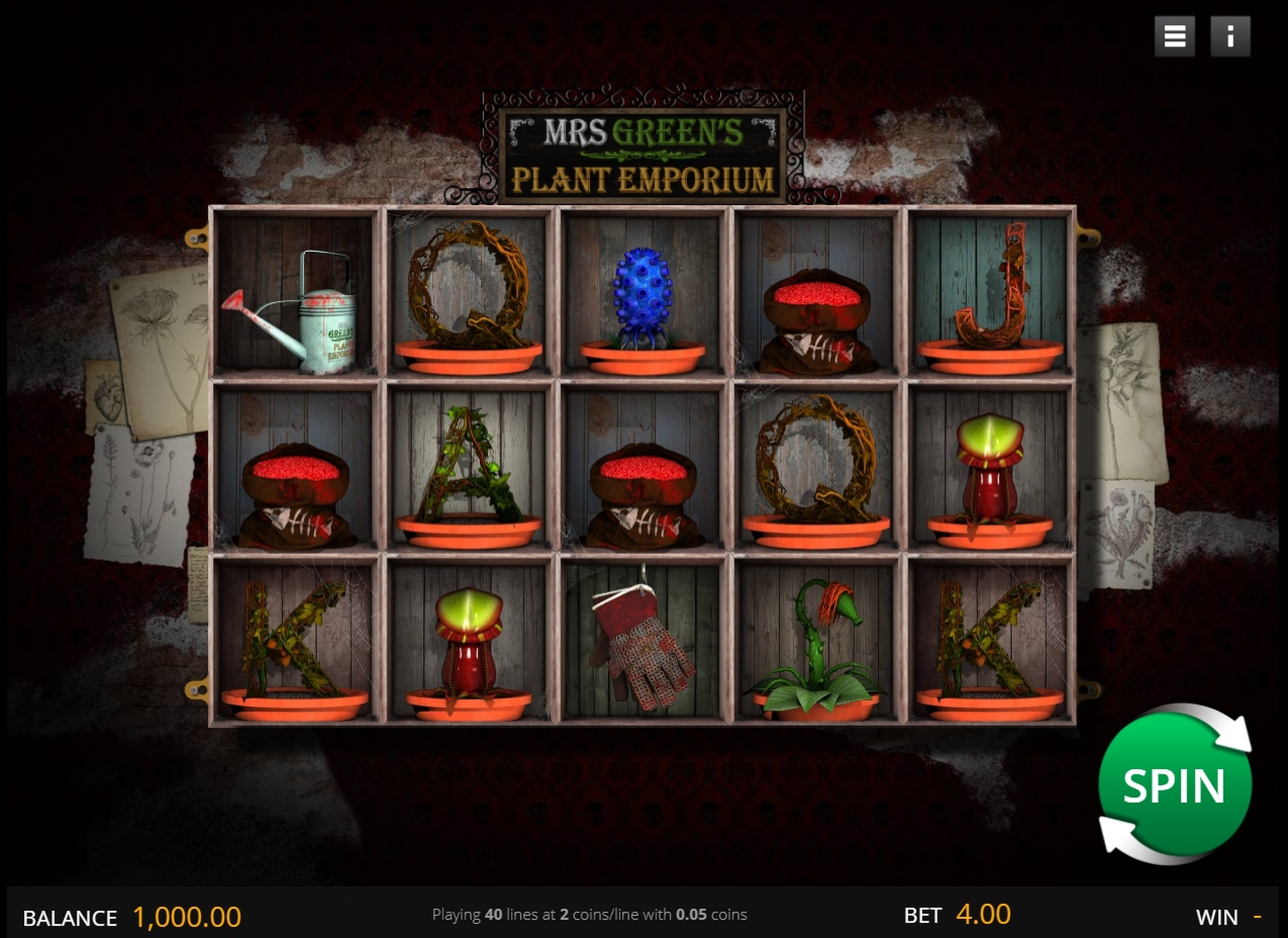 Reels in Mrs Green's Plant Emporium Slot Game by saucify
