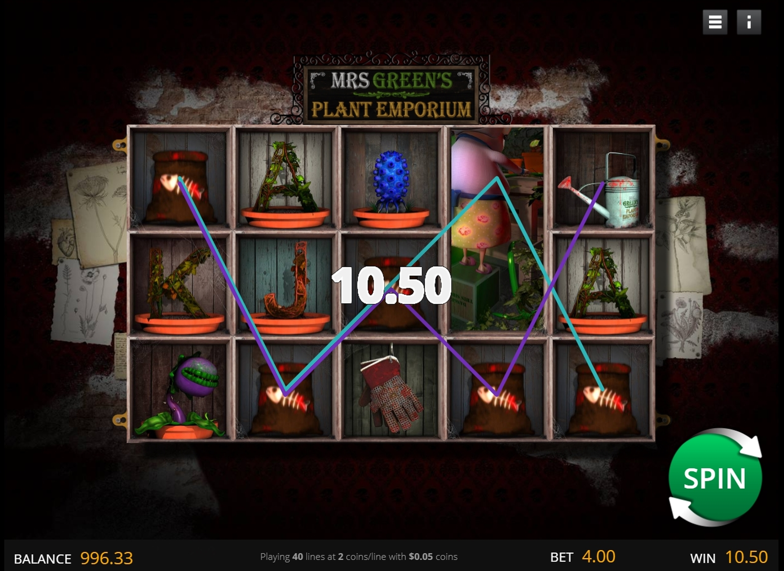 Win Money in Mrs Green's Plant Emporium Free Slot Game by saucify