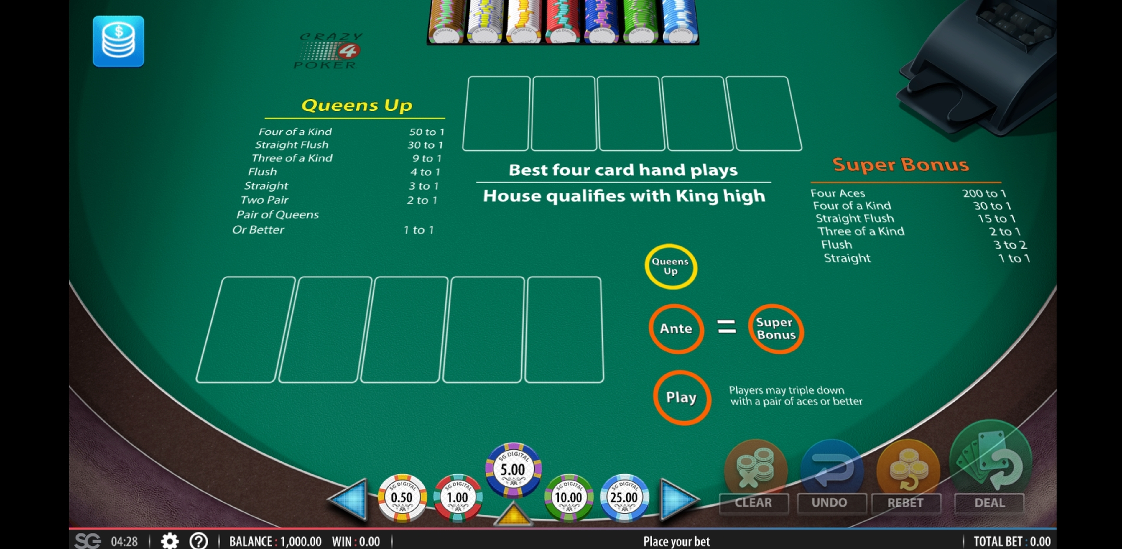 Reels in Crazy 4 Poker (Shuffle Master) Slot Game by Shuffle Master